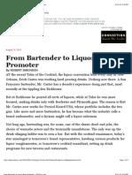 From Bartender to Liquor Brand Promoter - NYTimes