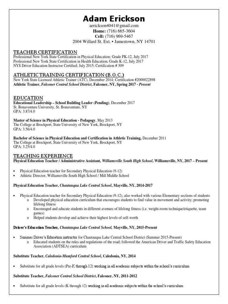 Pe resume physical education teachers 1betcityfo Image collections
