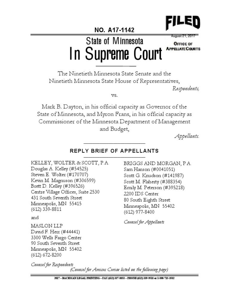 Gov Mark Daytons Reply Brief To Minnesota Supreme Court