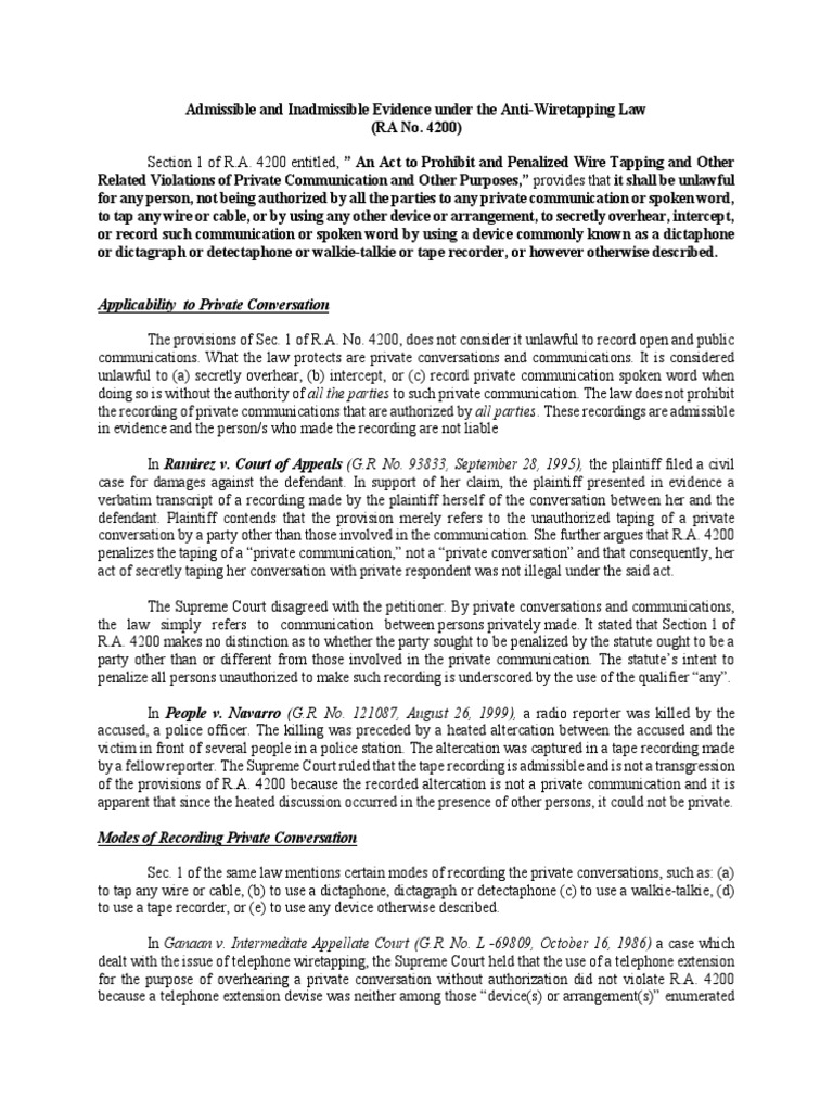Research Paper on Inadmissiblity of Evidence Under Anti-Wiretapping ...
