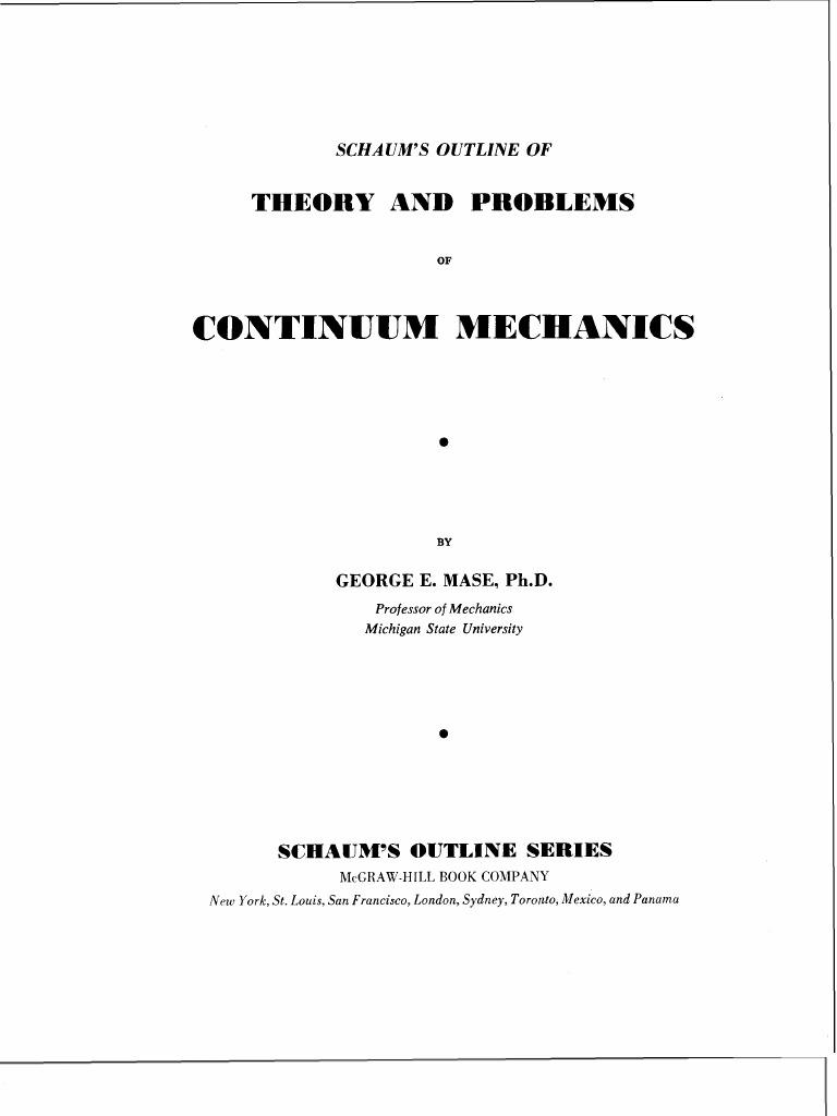 schaum continuum mechanics mase tensor euclidean vector rh pt scribd com
