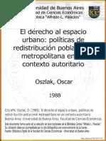 Políticas de Redistribución Poblacional Metropolitana en Un Contexto Autoritario - Oszlak