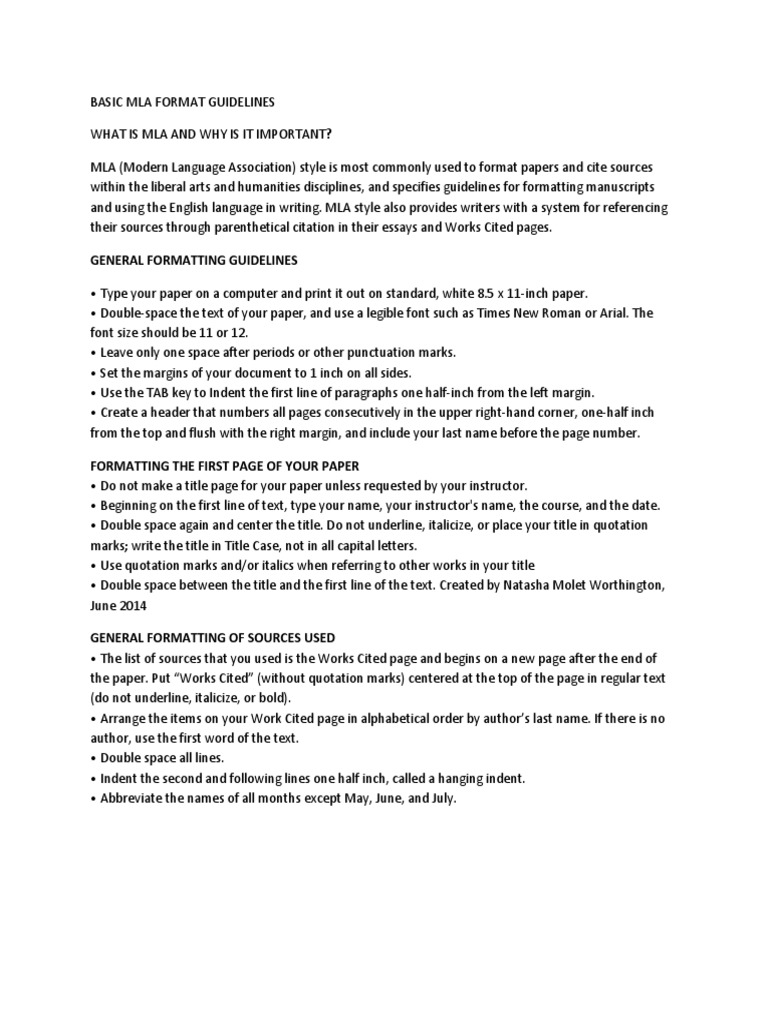 basic mla format guidelines citation human communication