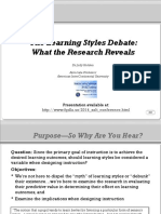 The Learning Styles Debate--What the Research Reveals