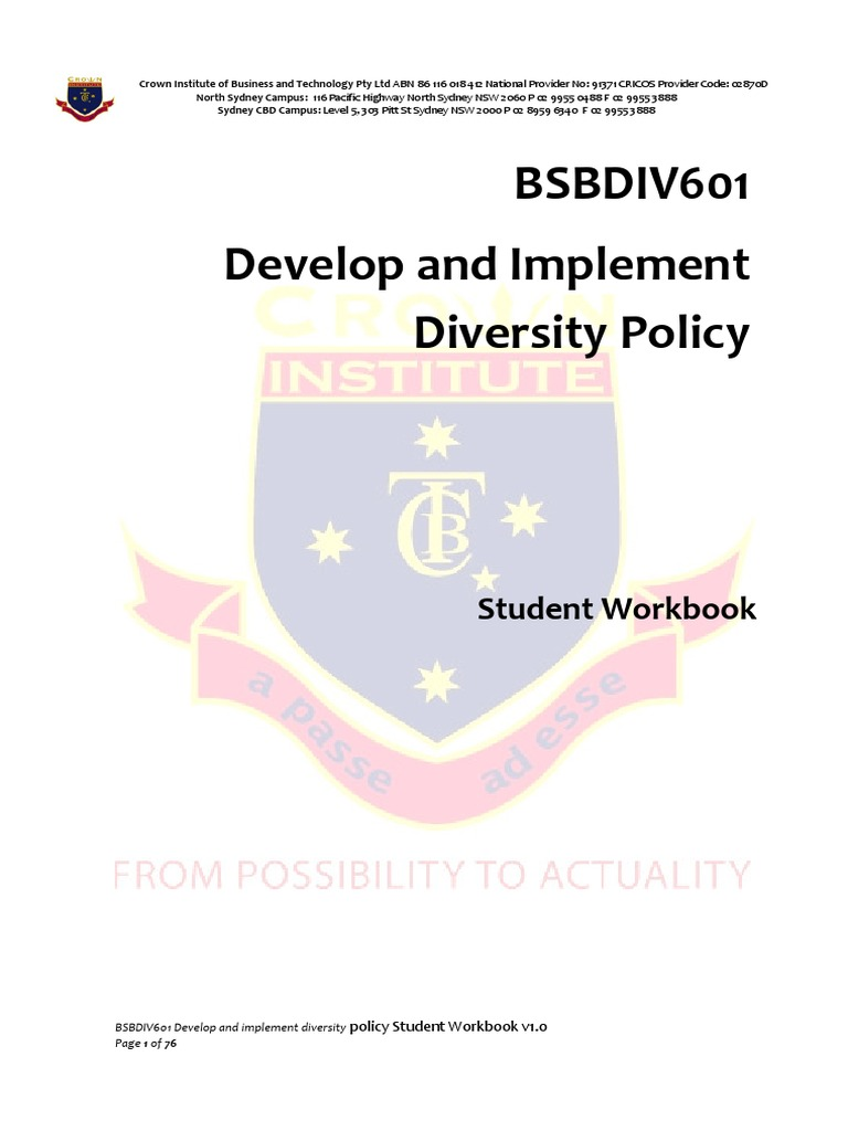 bsbdiv601 develop and implement diversity policy student policy