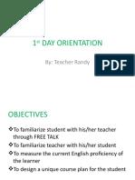 1st Day Orientation
