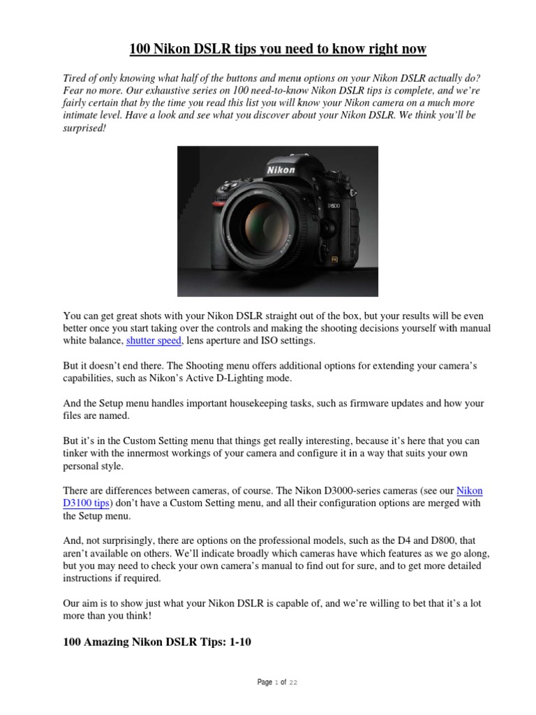 100 Nikon Tips You Need to Know | Digital Single Lens Reflex