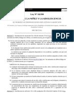 Ley N° 18.590 2009 Se modifican disposiciones relativas a adopción, Cód. Niñez y Adolescencia