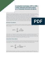 Which Financial Evaluation Technique