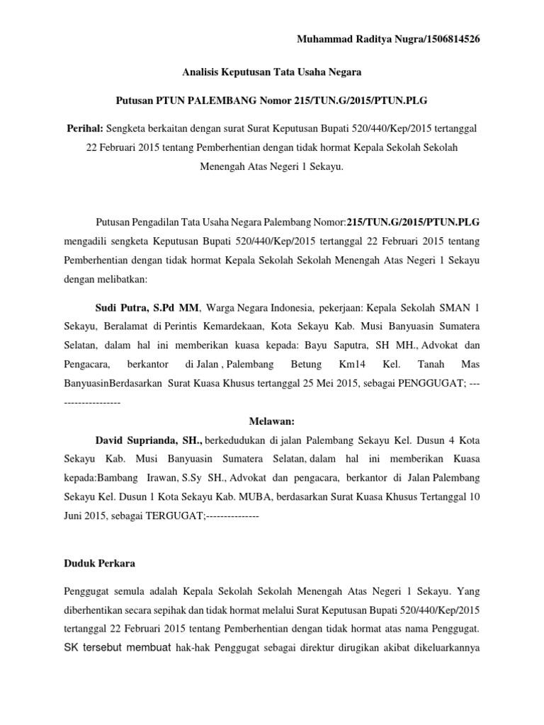 Analisis Keputusan Tata Usaha Negara Radit