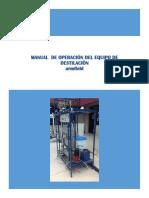 Manual de Operacion Equipo Destilación