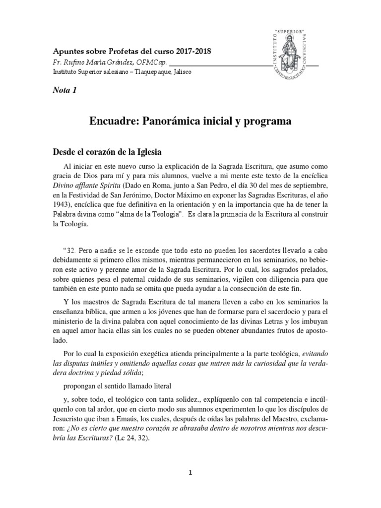 PROFETAS 2017-2018 Nota 1 Encuadre y Programa