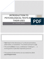 I - Introduction to Psychological Tests and Their Uses