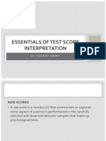 III - Essentials of Test Score Interpretation