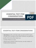 V - Essential Test Items Consideration