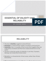 IV - Essentials of Validity and Reliability
