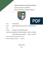 INFORME FISICOQUIMICA Leyes de La Termodinamica