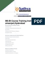 msbi training institute  in hydrabad