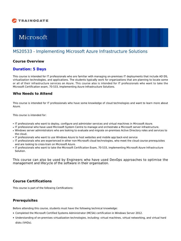 Course Outline Ms20533 Microsoft Azure Cloud Computing