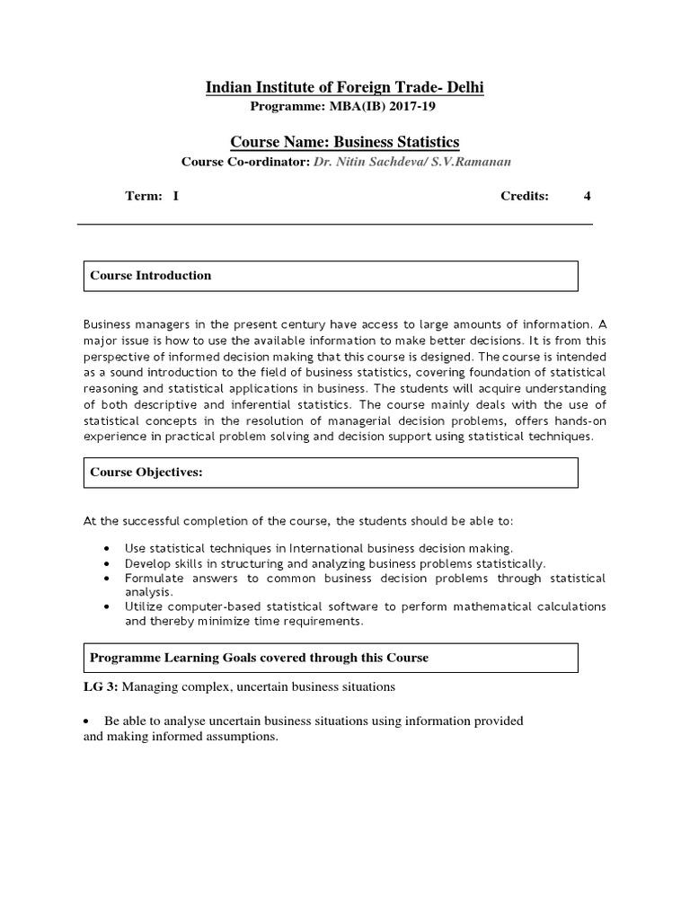 Business Statistics MBA 2017-19 3 | Variance | Regression