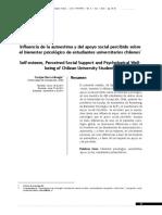 Influencia de la autoestima y del apoyo social percibido sobre el bienestar psicológico en estudiantes chilenos