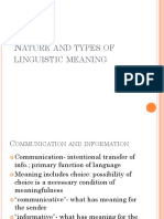 2. Nature and Types of Linguistic Meaning