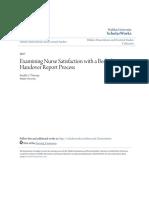 Examining Nurse Satisfaction With a Bedside Handover Report Proce