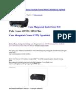 Cara Mengatasi Kode Error P10 Pada Canon MP287