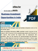 35 Project Profiles for Entrepreneurs-Business Investment Opportunities in India