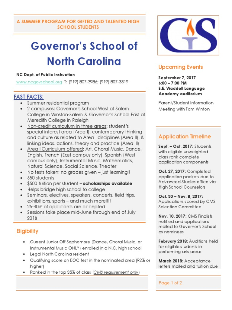Governor's School of North Carolina: Upcoming Events