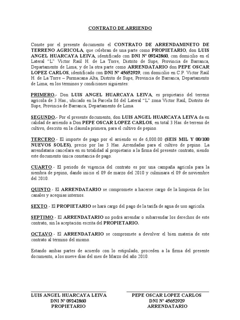 contrato de arrendamiento rural argentina - contrato de alquiler ...