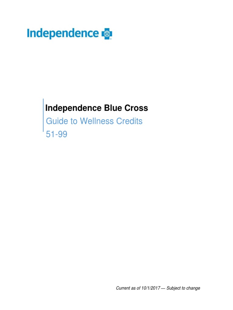 Independence Blue Cross: Guide to Wellness Credits 51-99