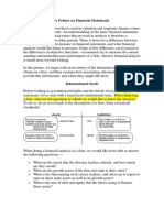 A Primer on Financial Statements - Valuation Damo