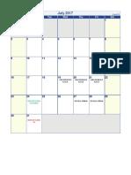 Calendario Segundo Semestre