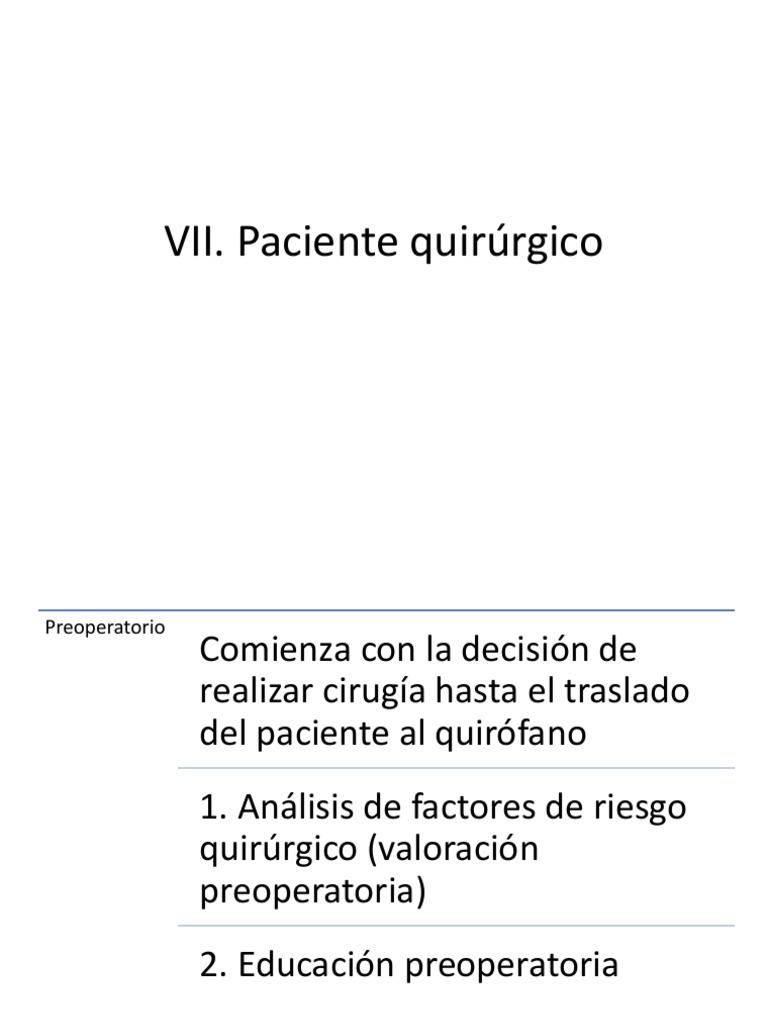 Circuito Quirurgico : Vii paciente quirurgico