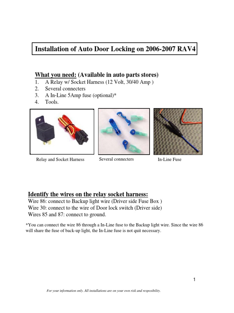 Auto Lock Installation 43 Fuse Electrical Connector 40 Amp Box