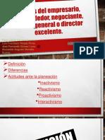 Análisis de Emprendedor, empresario, negociante, director general o director de excelencia