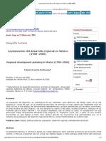 La Planeación Del Desarrollo Regional en México (1900-2006)