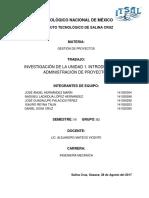 Unidad 1 Introducción a la Administración de Proyectos