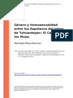Genero y Homosexualidad Entre Los Zapotecos Del Istmo de Tehuantepec El Caso de Los Muxe