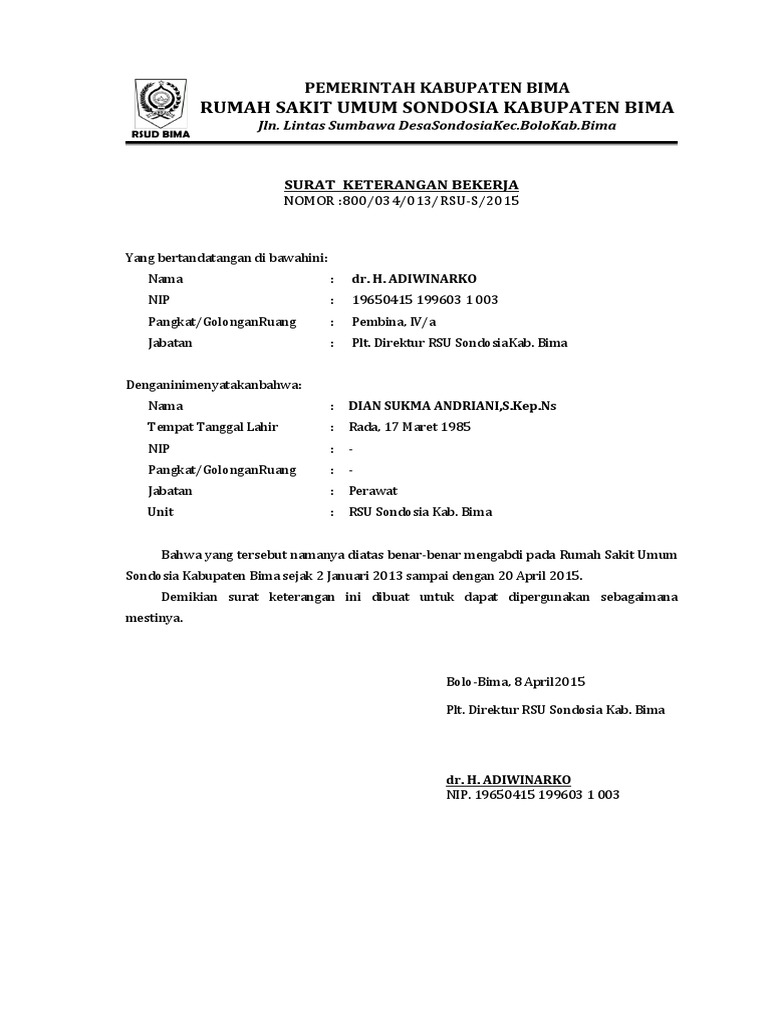 Surat Keterangan Bekerja