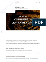 How to Complete the Qur'Ān in 7 Days - How to Memorize the Quran