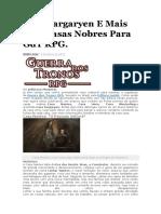 Casa Targaryen E Mais Três Casas Nobres Para GdT RPG