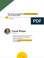Resumen y traducción de The many meanings of research utilization. Carol H. Weiss (1979)