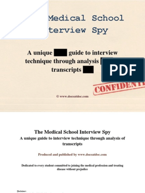 The Medical School Interview Spy | Emergency Department