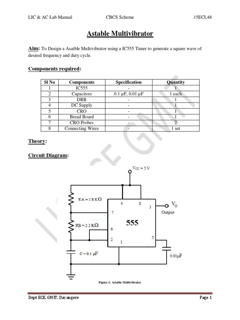 15ecl48 Vtu Raghudathesh Astable Monostable Multivibratorpdf 555 Timer As An And Multivibrator Electronic Circuits Electromagnetism