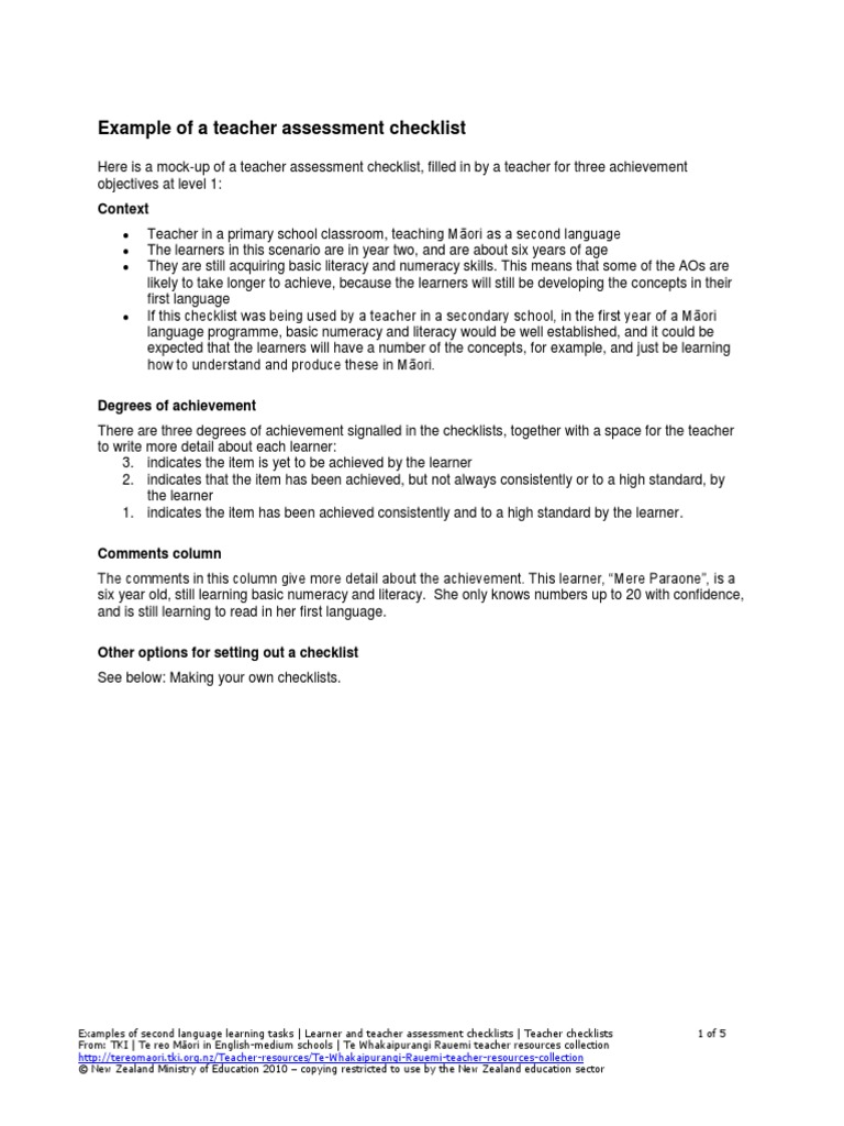 Example of a teacher assessment checklist pdf | Educational