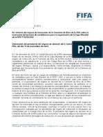 Informe del órgano de instrucción de la Comisión de Ética de la FIFA sobre la instrucción del proceso de candidaturas para la organización de la Copa Mundial de la FIFA™ 2018/2022