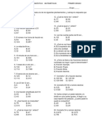 Examen de Diagnóstico Matemáticas Primer Grado Fracciones