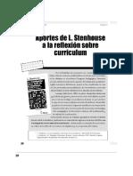 Aportes de L. Stenhouse a La Reflexión Sobre Currículo